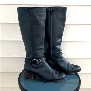 COACH Carolina Riding Leather black 8.5 Boots heel
